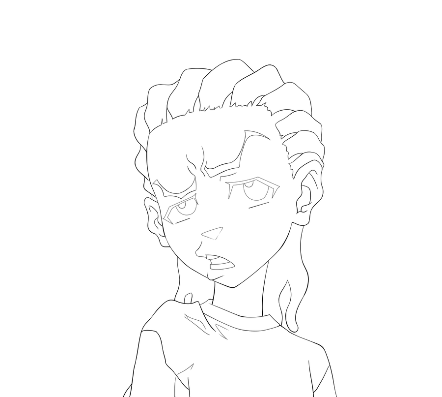how to draw boondocks riley riley freeman line art by guysanx on deviantart to boondocks how draw riley
