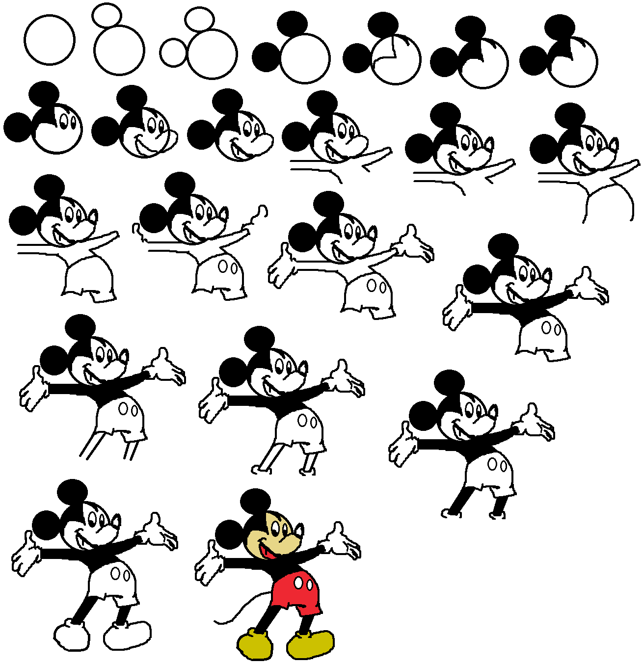 How to draw disney mickey mouse