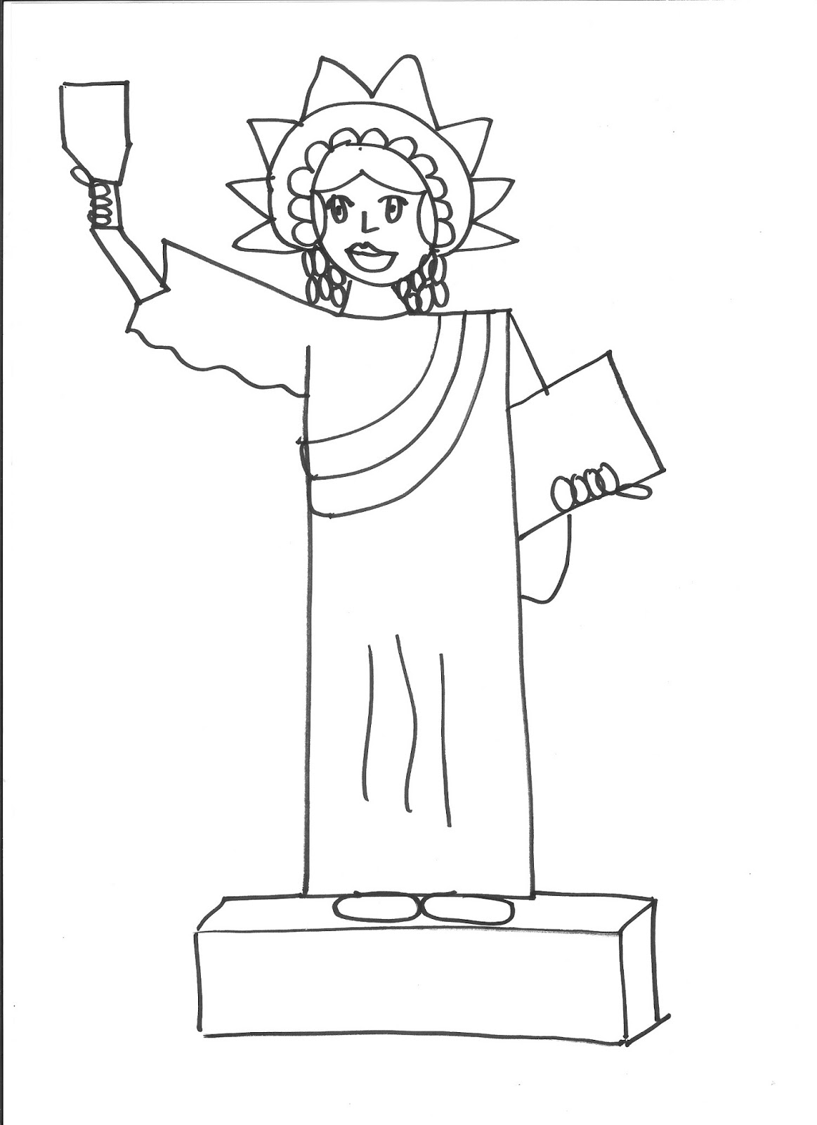 How to draw statue of liberty easy