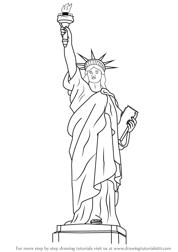 how to draw statue of liberty easy statue of liberty black and white drawing at liberty statue easy how to draw of