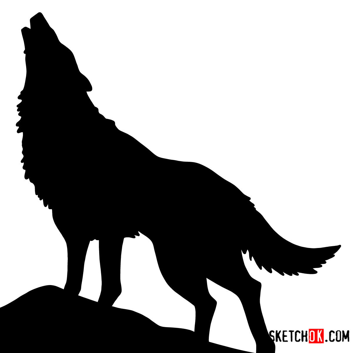 howling wolf drawing how to draw howling wolf silhouette wild animals wolf howling drawing
