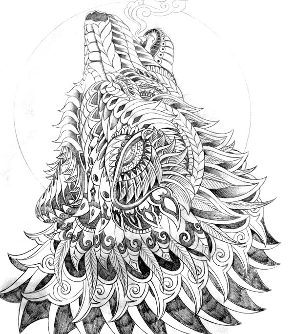 howling wolf drawing howling wolf on behance drawing wolf howling
