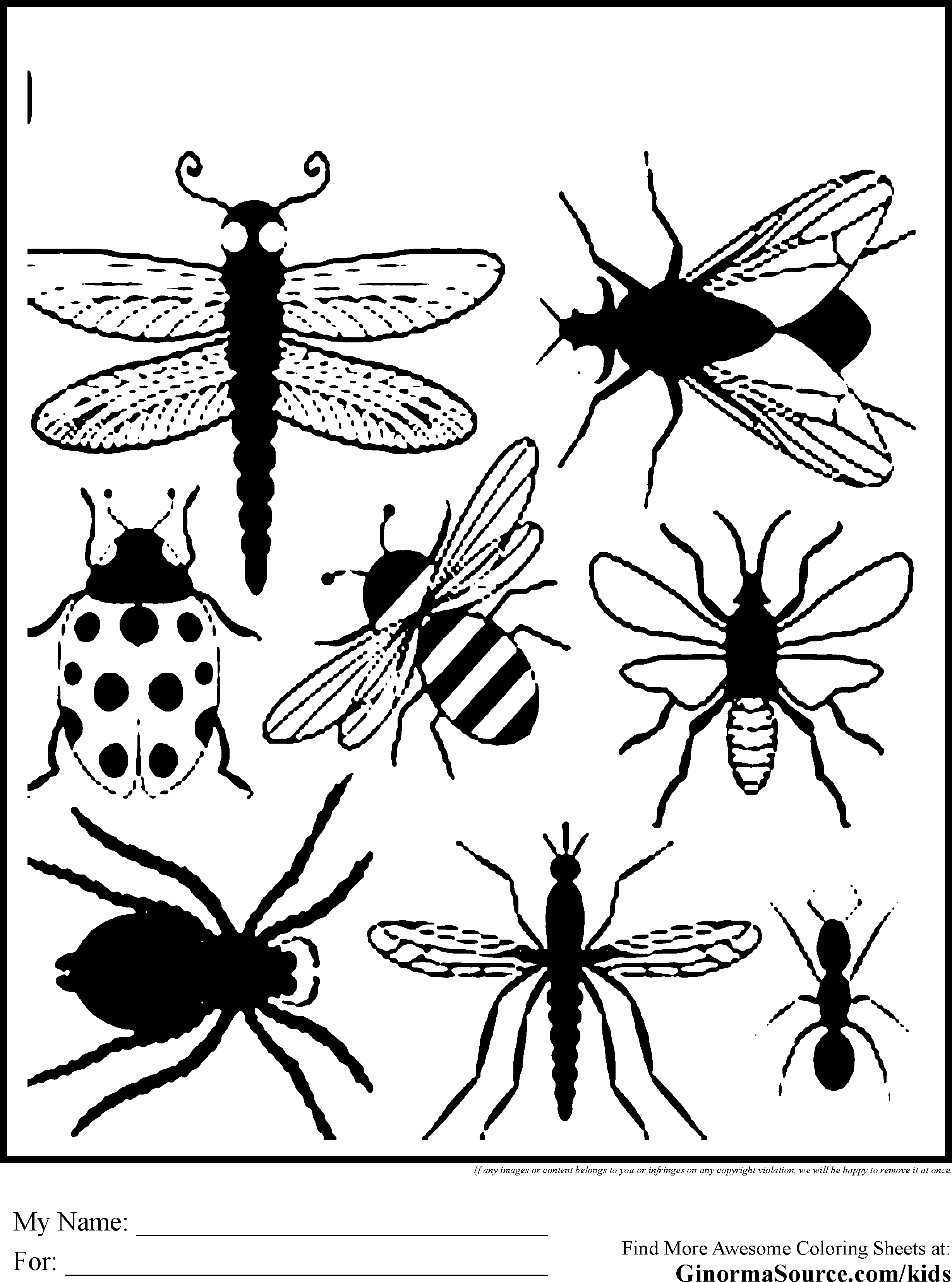 insects coloring sheets insects for children insects kids coloring pages coloring insects sheets
