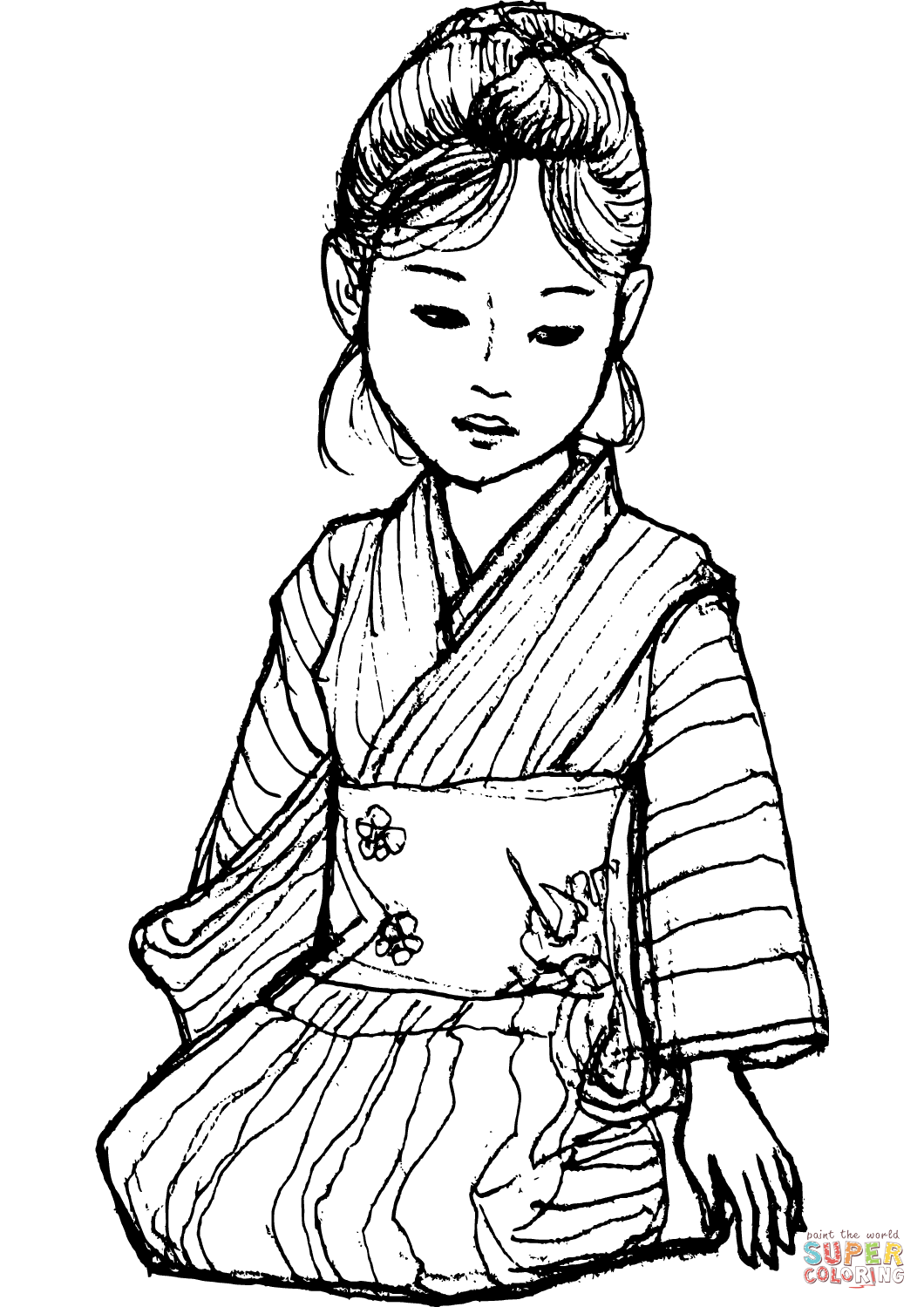 japanese anime girl coloring pages kimono girl lineart by ck union coloring books coloring pages anime girl japanese
