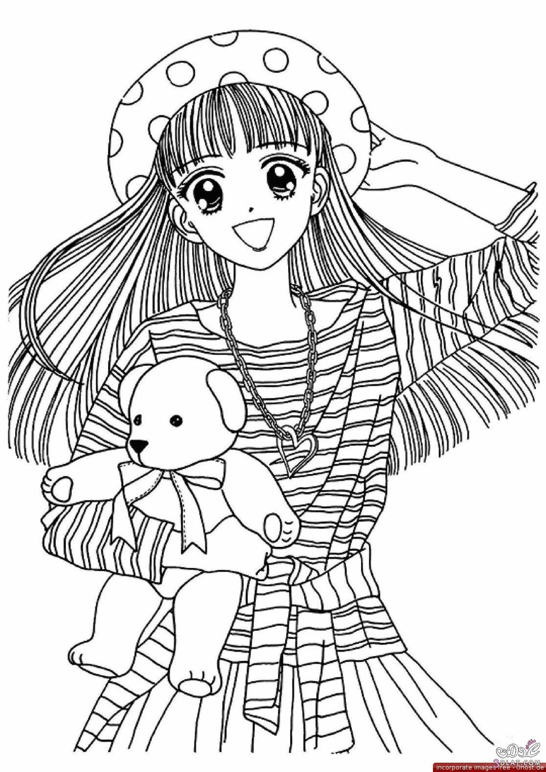Japanese anime girl coloring pages