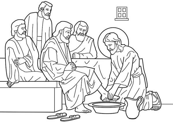 jesus washing feet coloring page coloring pages of jesus washing his disciples feet feet washing coloring jesus page