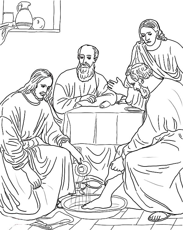 jesus washing feet coloring page jesus washing the feet of the apostles bible coloring pages page feet jesus washing coloring