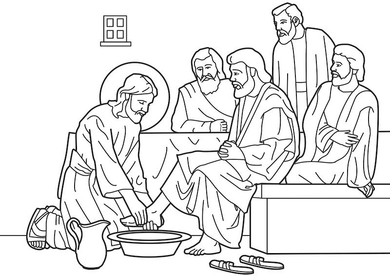 jesus washing feet coloring page kindness jesus washing feet coloring pages kids play coloring page jesus washing feet