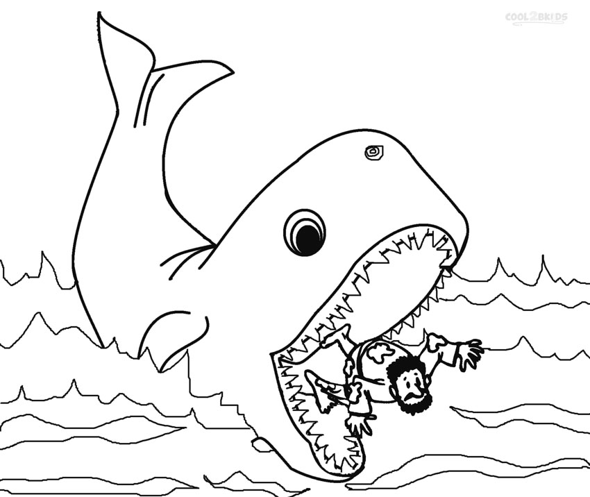 Jonah and the whale colouring
