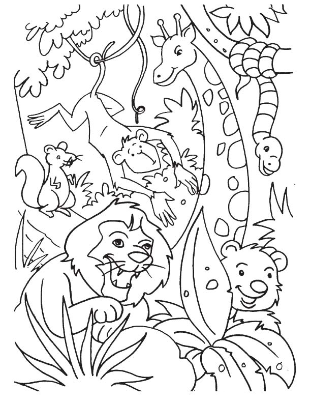 jungle coloring page jungle drawing for kids at getdrawings free download coloring page jungle