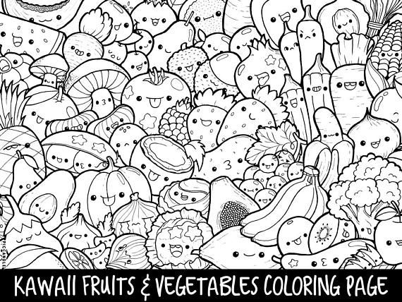 kawaii fruits coloring pages printable cutekawaii fruits vegetables doodle coloring kawaii fruits coloring pages