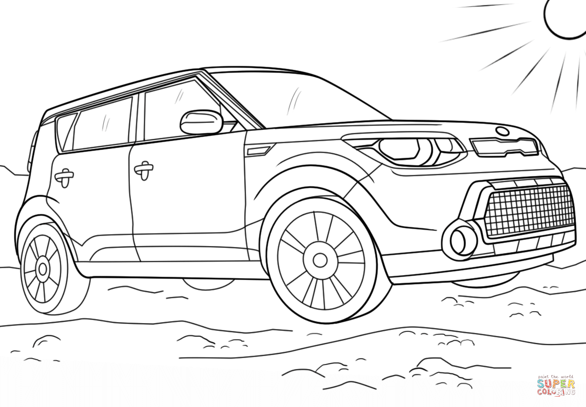 Kia car coloring pages
