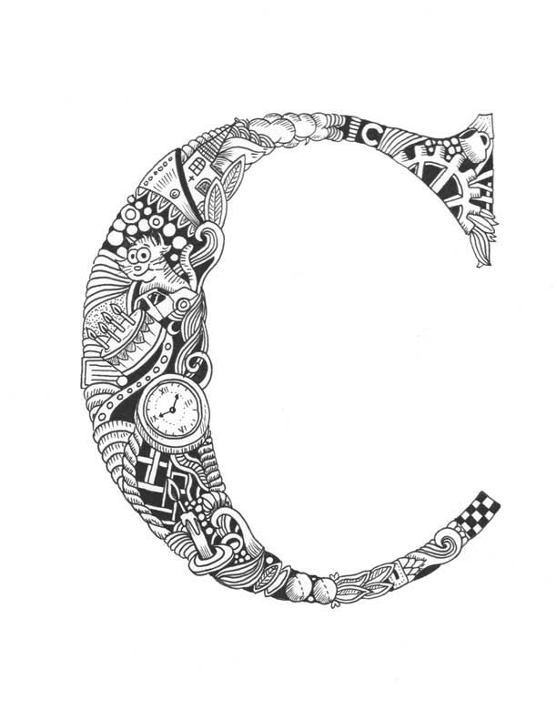 letter c coloring pages for adults 17 best images about initials to color on pinterest for pages letter coloring c adults