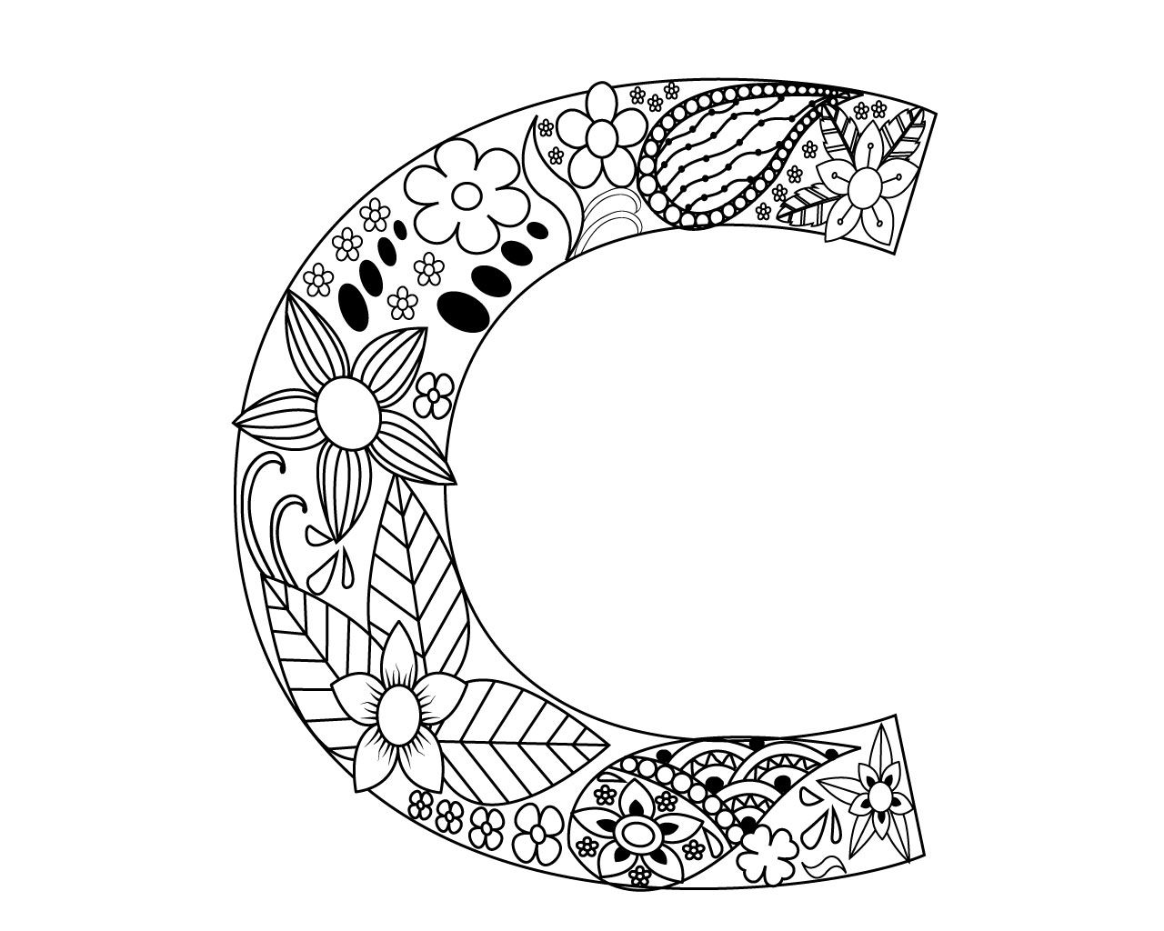 letter c coloring pages for adults free printable floral letter quotcquot adult coloring page c pages letter for coloring adults