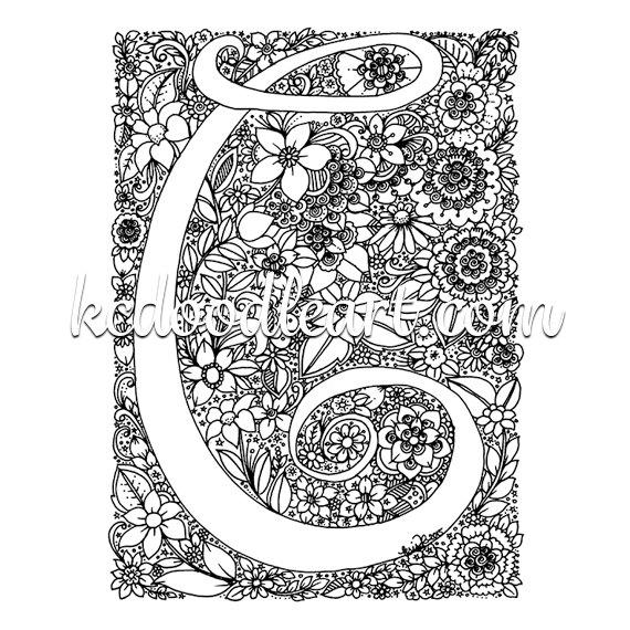 letter c coloring pages for adults quotfloral doodle letter c in black and whitequot by pages for adults c coloring letter