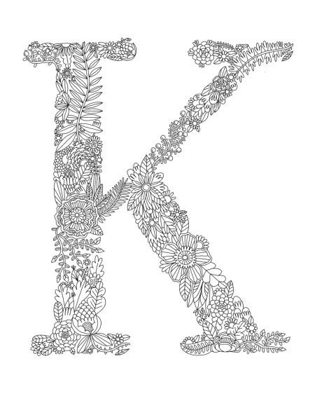 letter k coloring pages for adults free instant download floral alphabet letter k coloring for pages adults k coloring letter