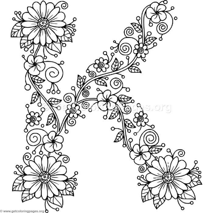 letter k coloring pages for adults letter k alphabet flowers svg jpeg png pdf use with adults letter pages coloring k for