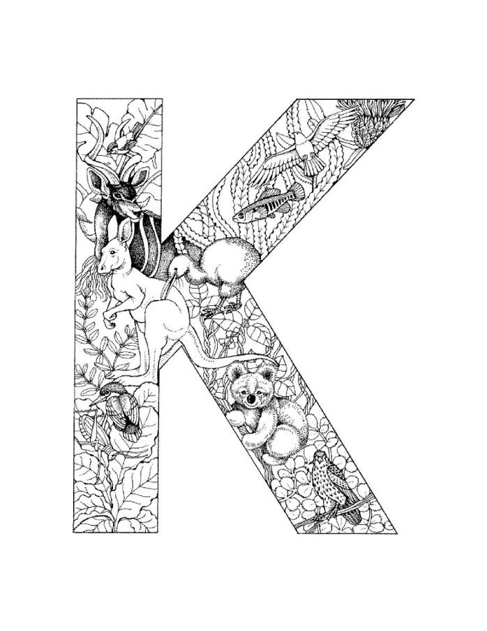 letter k coloring pages for adults letter k with plants coloring page free printable for coloring k adults pages letter