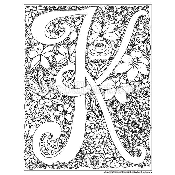 Letter k coloring pages for adults