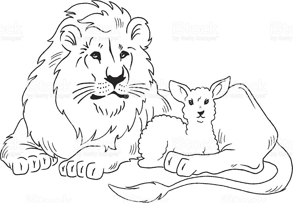 Lion and lamb coloring page