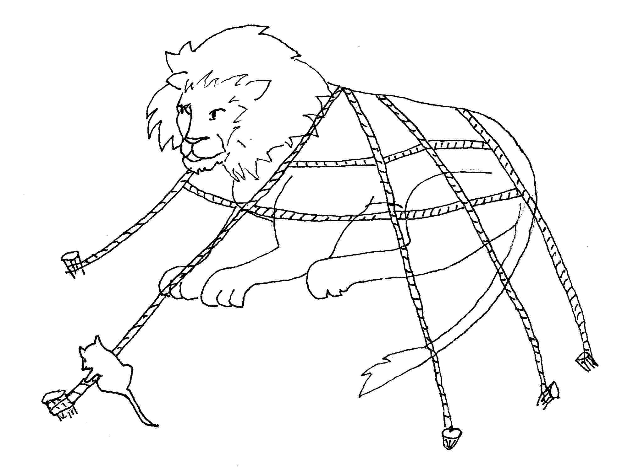 Lion trapped in a net