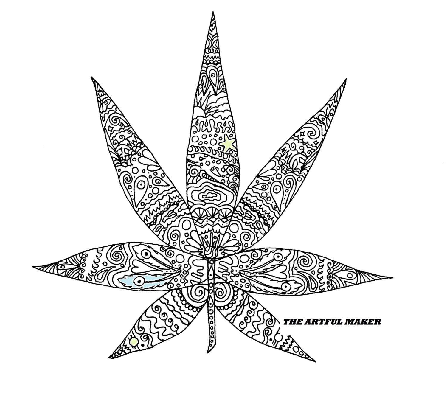 marijuana leaf coloring pages sweet leaf adult coloring page by the artful maker etsy coloring pages marijuana leaf