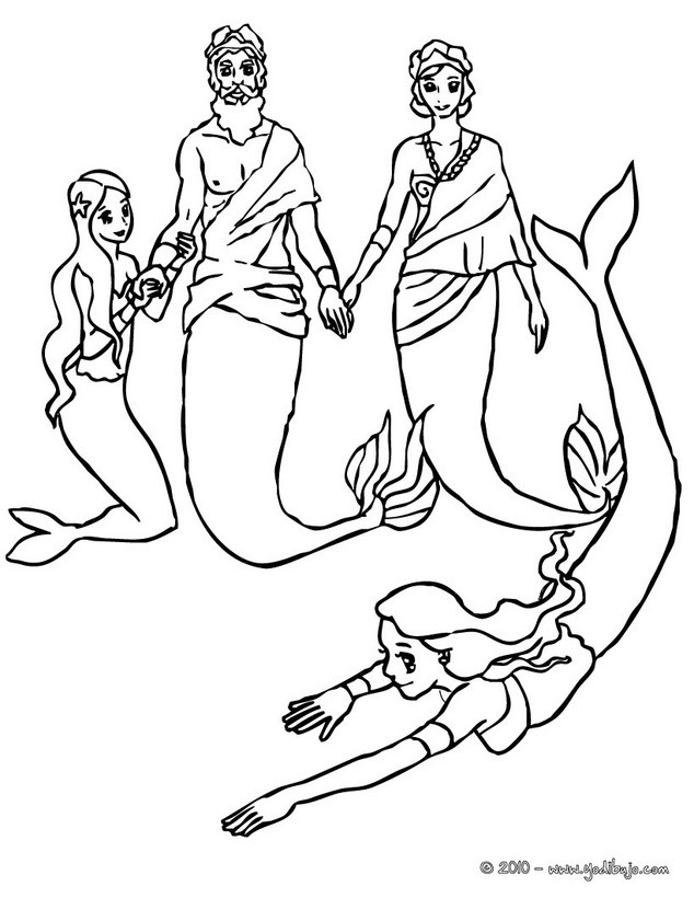 Mermaid family coloring pages