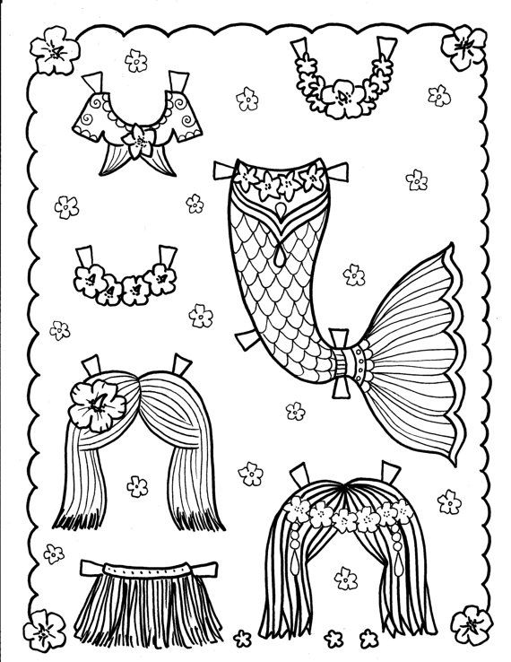 mermaid paper doll coloring pages mermaid paper doll 5 pages to color and cut and by mermaid coloring pages paper doll