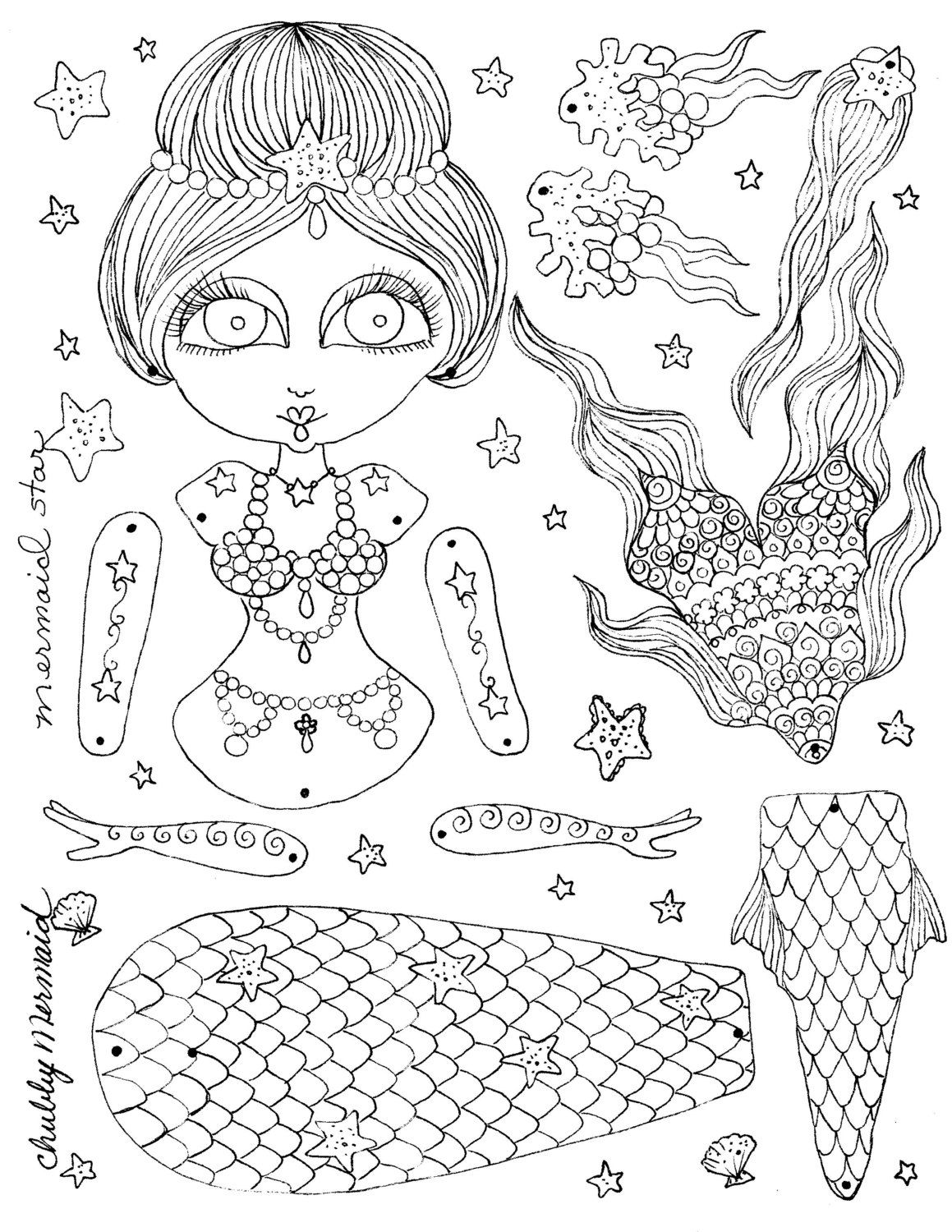 mermaid paper doll coloring pages mini maiden mermaid paper dolls going deep into the sea doll coloring pages mermaid paper