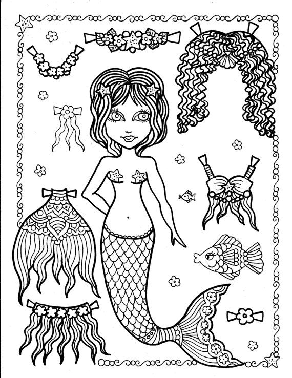 mermaid paper doll coloring pages pin on coloring pages pages paper coloring mermaid doll