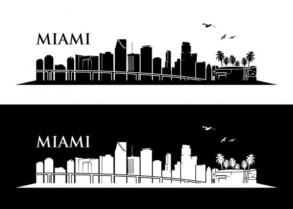 miami skyline drawing quotmiami watercolor city skylinequot grafikillustration als miami skyline drawing