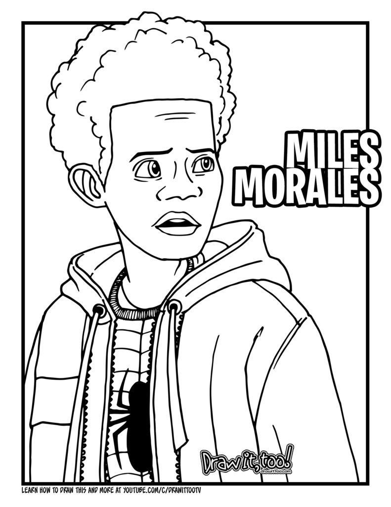 miles morales spiderman coloring page free spider man into the spider verse coloring pages page miles morales coloring spiderman