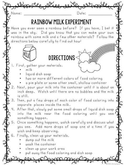 milk and food coloring experiment worksheet milk and food coloring experiment worksheets teaching and coloring milk food experiment worksheet