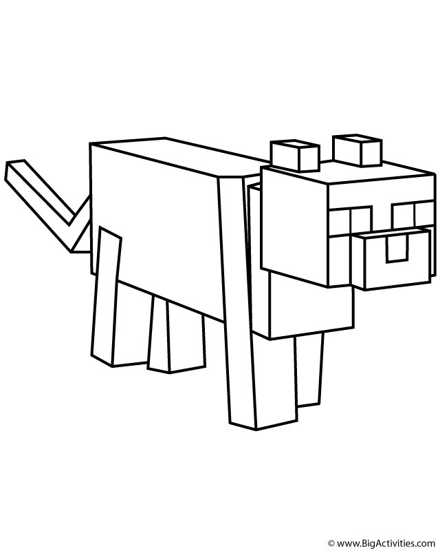 Minecraft cat coloring pages