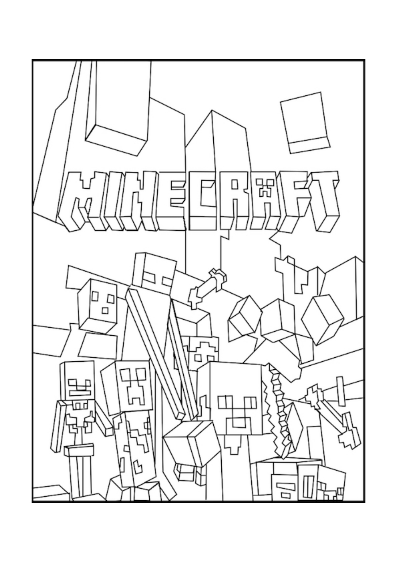 Minecraft nether coloring pages