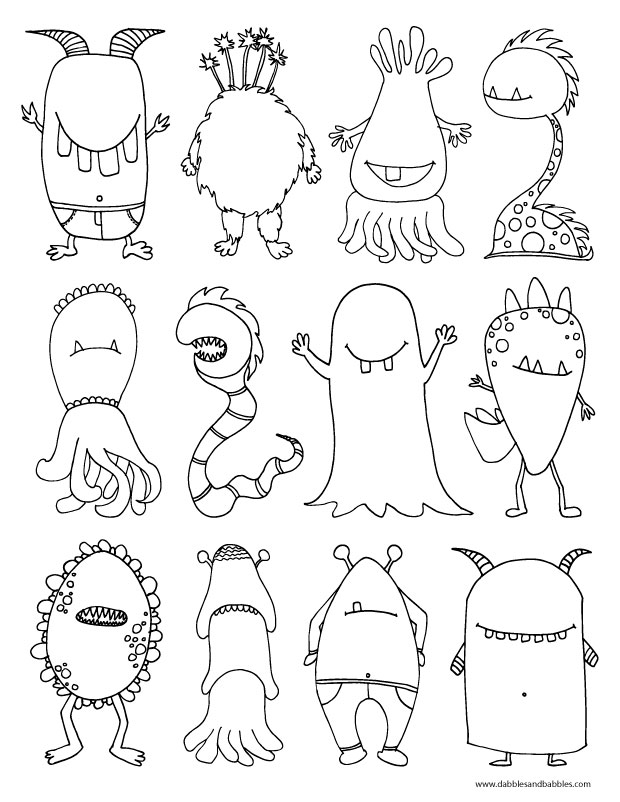 monster coloring pages printable monsters coloring page dabbles babbles printable coloring monster pages