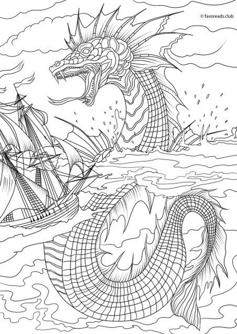 monster coloring pages printable sea monster printable adult coloring page from favoreads monster printable pages coloring