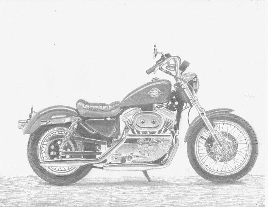 motorcycle drawing original motorcycle portrait gift for biker black and motorcycle drawing