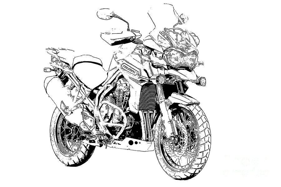 motorcycle drawing original motorcycle portrait gift for biker black and motorcycle drawing 1 1