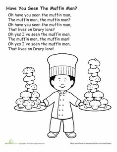 muffin man coloring page nursery rhyme printables prekinders muffin coloring page man