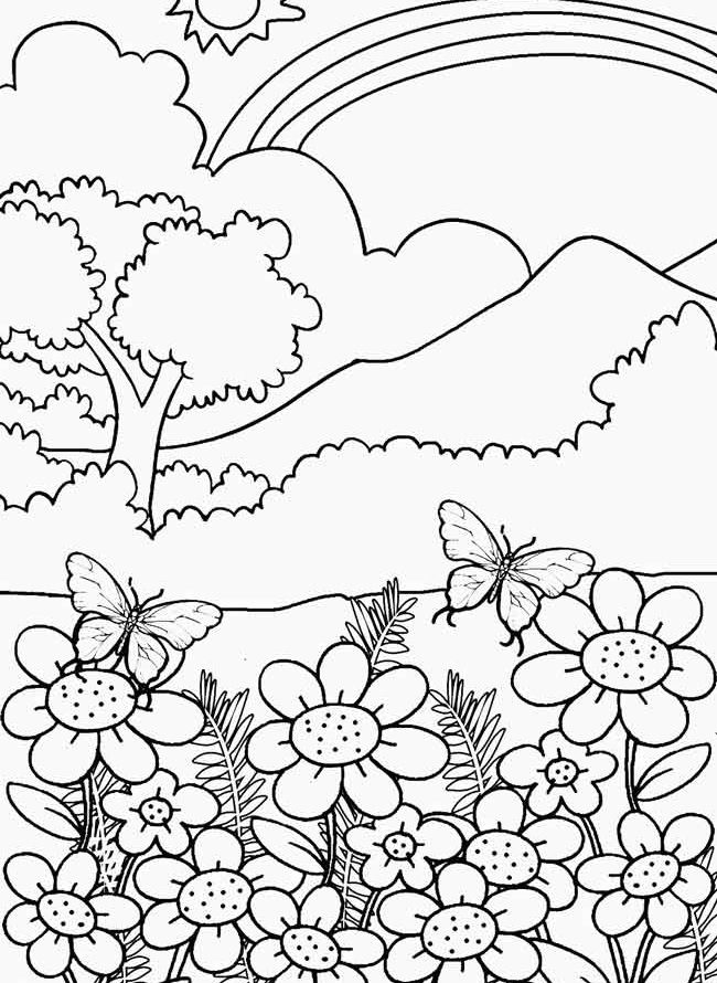 Nature scene nature coloring pages