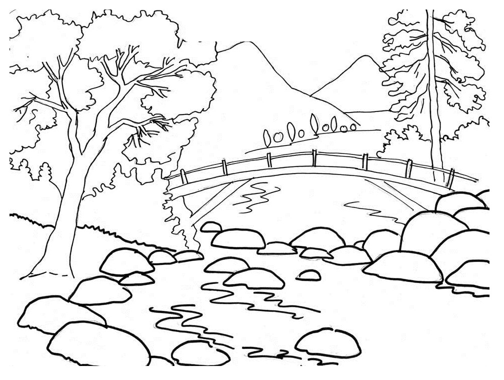 nature scene nature coloring pages nature scene drawing at getdrawings free download nature pages coloring scene nature