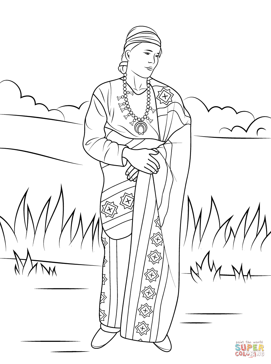 Navajo indian coloring pages