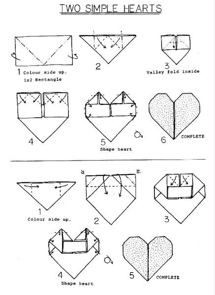 Origami heart instructions printable