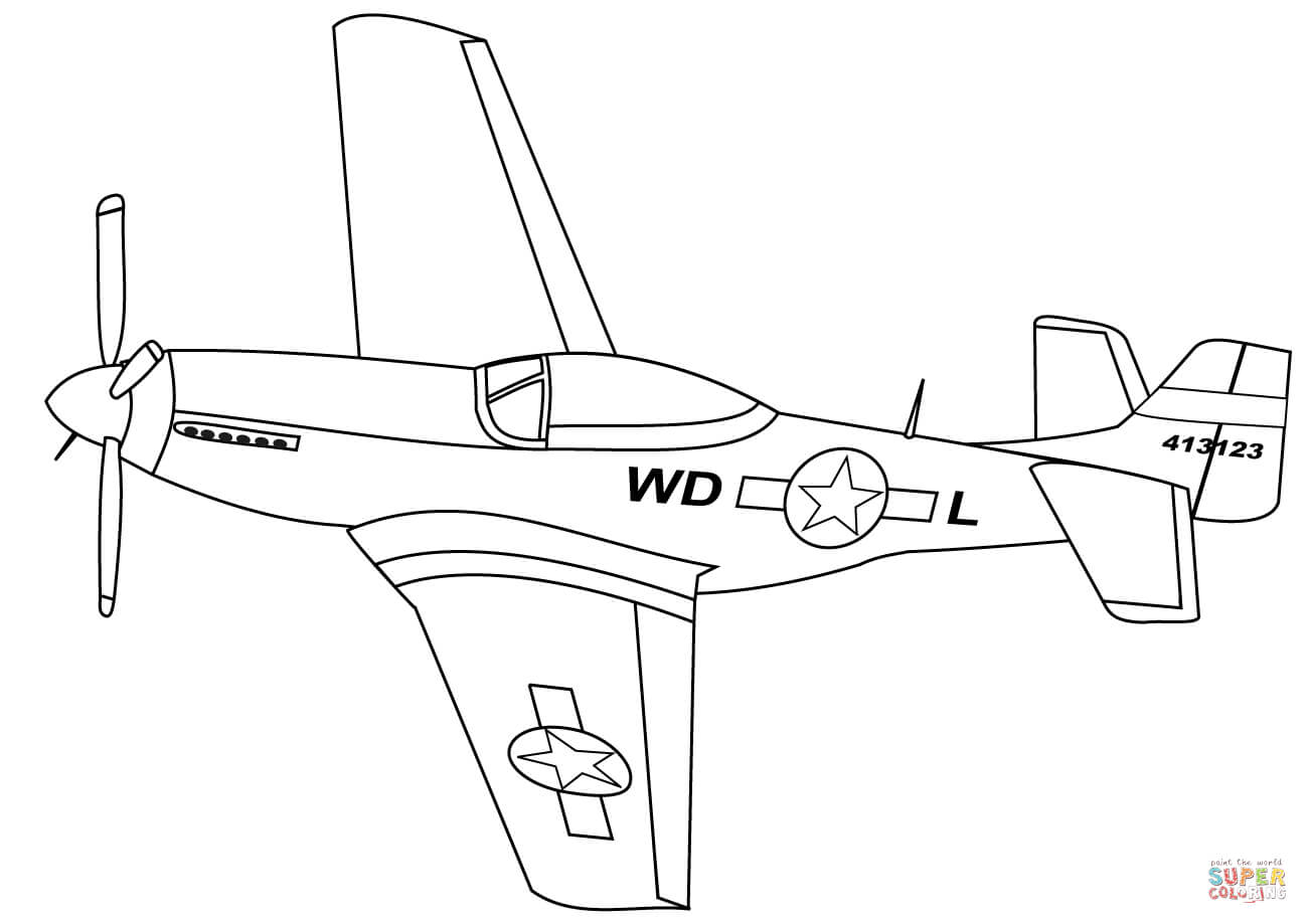 P 51 mustang coloring page