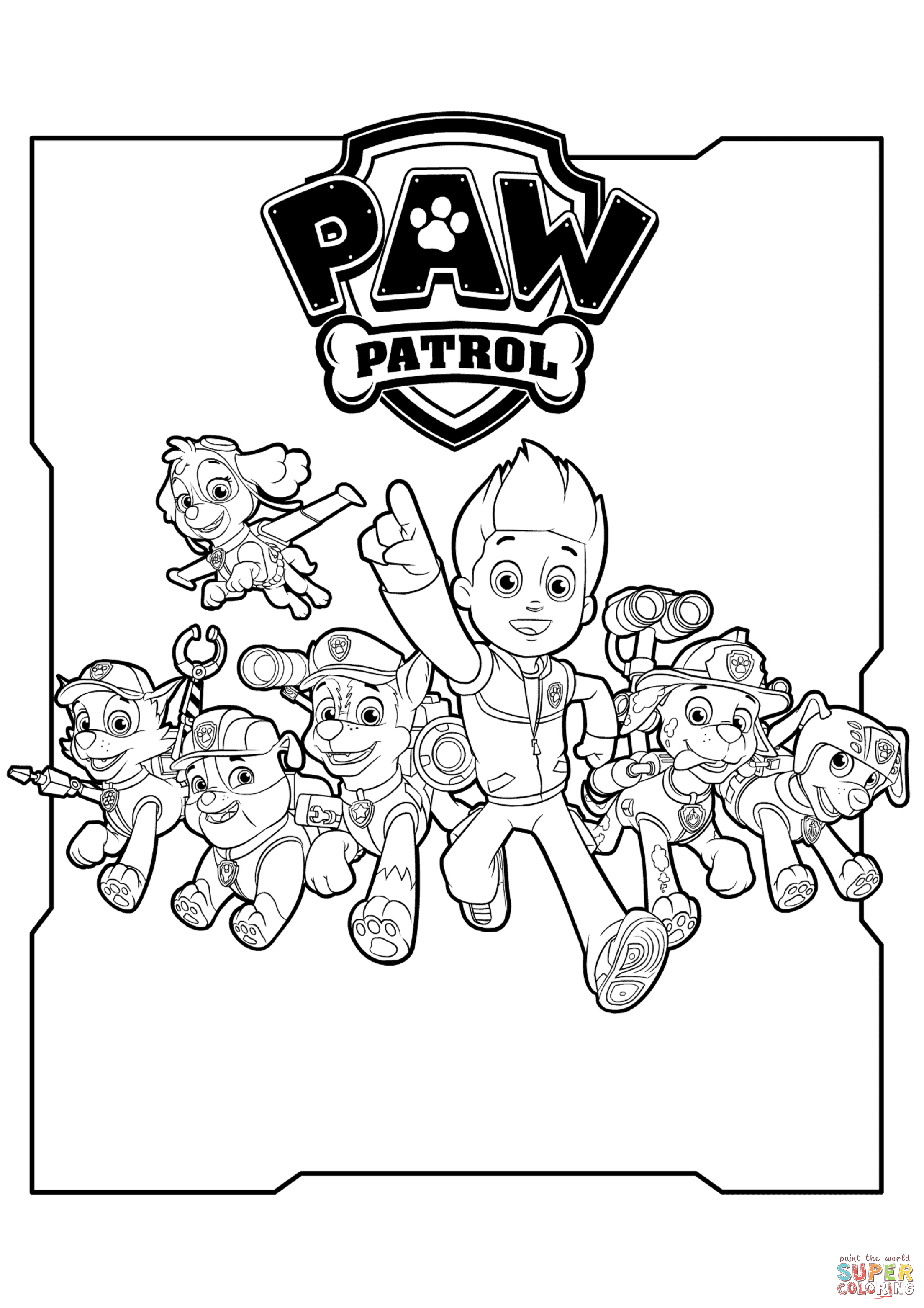 paw patrol coloring outline all paw patrol characters coloring page free printable outline patrol paw coloring