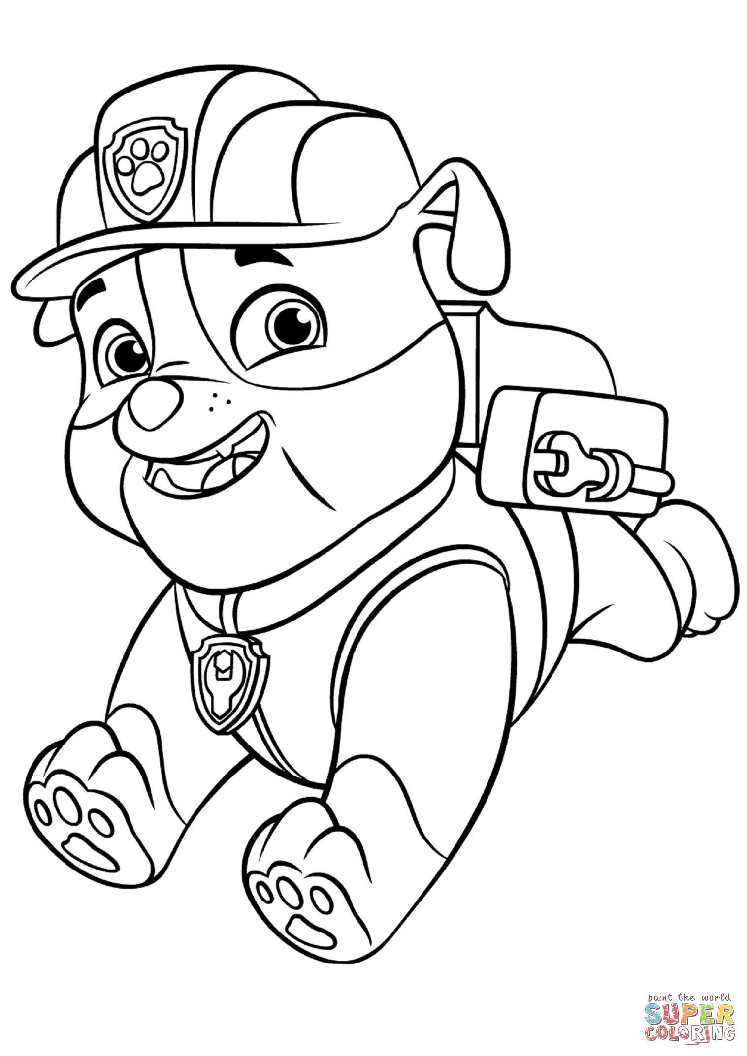 paw patrol coloring outline paw patrol marshall with water cannon coloring page free coloring paw patrol outline