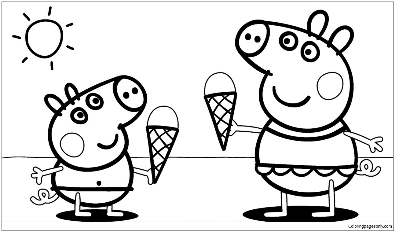 peppa pig colouring pages online peppa pig with ice cream coloring page free coloring peppa online pages colouring pig