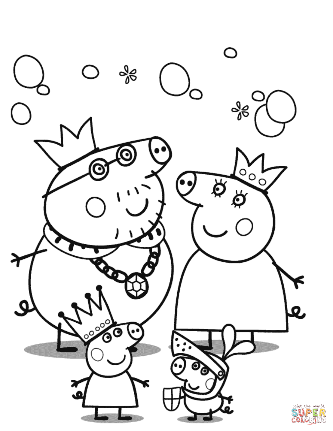 peppa pig colouring pages online peppa pig39s royal family coloring page free printable peppa online colouring pig pages