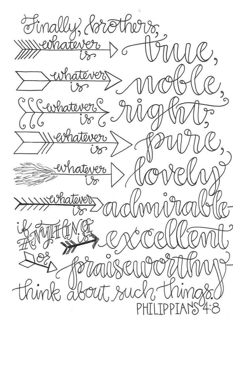 philippians 4 8 coloring page philippians 48 with colorful arrows think on these things 4 8 philippians page coloring